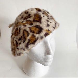 H&M Fuzzy Leopard Print Beret Angora Hat One Size